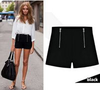 Wholesale 2016 New Double zipper shorts pants Autumn period and the high waist double zipper bottoms big yard stretch leisure female render plus size