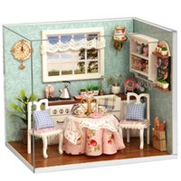 Wholesale Handmade Miniature Kitchen Dollhouse With Cover And LED Furnitures Wooden Dollhouse Miniature Dining Room Kit Educational Toys