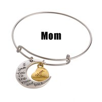 Charm Bracelets Asian & East Indian Family Family Father Mother Brothers Lettering Bracelet Alex and Ani I Love You The Moon And Back Vintage Heart Statement Charm Bracelet Girl Gifts