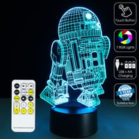 aa remote - 2016 R2D2 Robot Night Lamp D Optical Lamp RGB Lights Dimmable DC V AA Battery IR Remote Control Retail Box