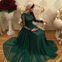 Reference Images abendkleider brautkleider - De festa Dubai Dunkelgrün Muslimischen Abendkleider mit langen ärmeln spitze appliques brautkleider A linie Evening Dresses