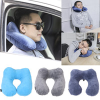 Wholesale 1pcs car Portable Inflatable Travel Pillows Neck Rest U shaped Air Plane Cushion Sleep back cushion auto
