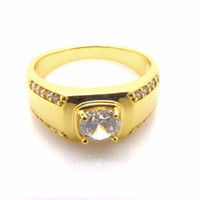Wholesale Solitaire Ring k Yellow Gold Filled Womens Mens Ring Wedding Bridal