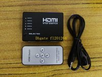 Adapter HDMI >= 0.5m 20pcs lot Free Shipping 5 Port 1080P 5 To 1 Video HDMI Switch Switcher Splitter for HDTV PS3 DVD IR Remote