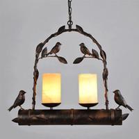art deco bird - loft industrial style retro pendant light American Village Restaurant Cafe Bar racks wrought iron bird marble pendant lamp