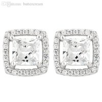 asscher studs - Sterling Silver Prong Cut Studs On Asscher Halo w Detailed Corners Earrings