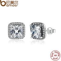 asscher jewelry - 100 Sterling Silver Asscher Cut CZ Zirconia Small Stud Earrings In Women Earrings Jewelry PAS458