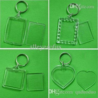 Wholesale Blank Acrylic Keychains Insert Photo plastic Keyrings Square Key Rectangle heart circular accessories