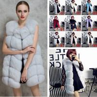 Wholesale Winter Faux Fox Fur Vest Sleeveless Coats Faux Fur Waistcoat Luxury Fur Women Jackets Lady Gilet Outerwear Vests Gift PPA438