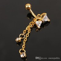 Wholesale 120pc Rhinestone Bow Belly Button Rings Navel Body Piercing Gold Ball Bowknot Dangle Navel Belly Button Bar Barbell Ring Jewelry