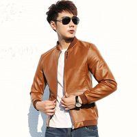Wholesale autumn winter new large men s brand leather jacket stitching Slim Korean men s fashion black brown long sleeved ja