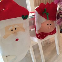 Wholesale 2pcs Christmas Kitchen Chair Covers Mr Mrs Santa Claus Christmas Kitchen Chair Covers Cute Unique Design for Holiday Party