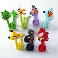 Wholesale 7 Styles Cute Angry Bird Cable Winder Moblie Earphone Bobbin Winder Cable Management