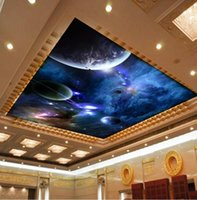 Wholesale custom photo murals wall paper luxury quality silk HD Blue Planet Space Night smallpox living room backdrop large mural d wallpaper