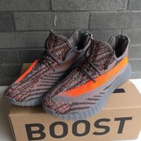 box light - SPLY Boost V2 Kanye West Beluga BB1826 Grey Version With Original Box Keychain TPU Bottom stripe lines Running Shoes Size