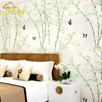 bamboo wallpaper for walls - Nature Scenery D Green Bamboo Embossed Flocking Non woven Wallpaper Breathable Mural Living Room Backdrop Wallpaper For Walls