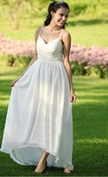 Wholesale Summer Design Spaghetti Straps Long Chiffon Sheath Wedding Dresses Simple Beautiful Appliqued Garden Bridal Gowns