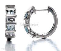 aquamarine gemstone earrings - Natural Baguette Aquamarine White Topaz Gemstone Solid Sterling Silver Hook Earrings For Womens Fine Jewelry