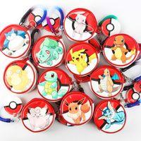 animal pie - 11styles Poke mon Characters Round mini wallets Cartoon PU Coin Purses Zipper Pie Key case Headphone Holder Bulbasaur Charmander Pikachu Bag