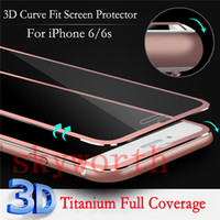 protective film - Front Screen Protector for iPhone s plus Tempered Glass Full Cover quot D Curved color metal Edge Titanium Protective Film