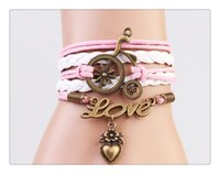 bicycling articles - DIY craft bicycle alloy bracelet with pink young girl LOVE LOVE is small adorn article
