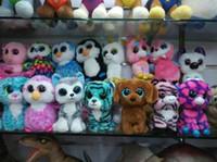 al por mayor ty grande de la felpa del ojo-15 PC Ty Beanie Boos peluche juguetes de peluche grandes ojos de los animales muñecas suaves para los regalos del cumpleaños de los niños del envío libre