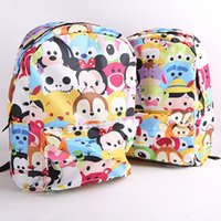 Wholesale mickey Minnie tsum animation Donald Duck pooh cartoon double shoulder bag students backpack bag