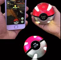 Wholesale Poke mon Go Power Bank mAh Poke Ball Shape USB LED External Battery Charger Phone Charger OOA404