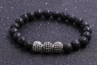 balls lava - Gemstone bead lava stone with CZ ball bead bracelet fashionable style bead bracelet