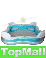 Wholesale LAI inflatable square pool with seat and cushion intex swimming pool with hand pump Free DHL shipping