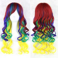 Wholesale 2016 Anime Cosplay Hot Sale Multicolor Cheap Synthetic Hair Wig Cosplay Colored Costume Long Straight Wigs For Party