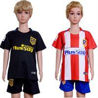 Wholesale 2017 Kids Kit Atletico de Madrid Football Jersey Atletico Home Red Away Black Boy Soccer Jersey Griezmann Torres Child Soccer Shirts