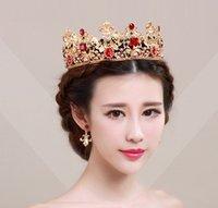 antique bridesmaid dresses - Baroque vintage Wedding dress crown wedding crystal tiaras crowns Hair claw clips Hair Band bridal noble Bridesmaid Rhinestone Pearls