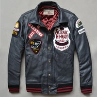 avirex flight jacket - Fall Avirex fly fashion genuine leather jacket men winter leather coat men cowskin black baseball jacket with patches flight jacket