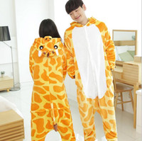 Wholesale onsie Cartoon adult giraffe pajamas animal onesies flannel animal pajamas one piece cosplay womens adult giraffe C31180202