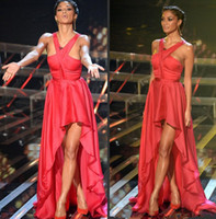 nicole scherzinger - New Style Halter Neck Nicole Scherzinger formal party prom gowns sexy back chiffon high low celebrity red carpet dresses