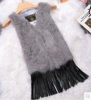 Wholesale Natural real rabbit fur vest with raccoon fur collar waistcoat jackets rex rabbit stitching tassel winter for women