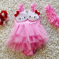beachwear for kids - 50sets LJJG187 Kids Swimwear Baby Girls KT Cat Princess Dress Pink Red Cute Beachwear Swimsuit For Baby Girl Summer Clothing