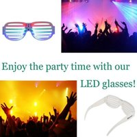 Wholesale LED Light Up Glow Party Glasses Luminous Flashing Sound Activated Rave Halloween Trendy Multicolor Mixed Shutter Glasses Sound active LED