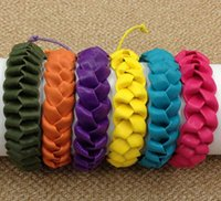 Wholesale Hot New European And American Fashion Handmade color Woven leather Bracelet Adjustable
