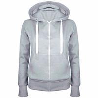 warm up jackets - 2016 Ladies Women Men Unisex Plain Zip Up Hooded Fleece Warm Sweatshirt Coat Zipper Jacket Top Overcoat Outerwear Hoodies Tracksuit