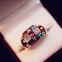 beautiful promise ring - Austrian Colorful Luxury Ring Colorful Beautiful Crystal Noble Classical Ring Diamond Rings Queen Wedding Promise Ring Jewelry