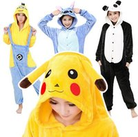 TV & Movie Costumes asia shoes - Hot selling cartoon animal costume pikachu one piece sleepwear flannel animal pajama with shoes asia size S XL