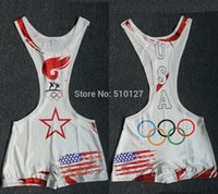 Martial Arts american flag outfits - Man American Flag Art Olympic Wrestling Singlet Outfit Weight lifting Aerotics Singlet
