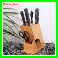 bamboo knife block - High level R Shaped Bamboo Kitchen Knife Block Holder Kitchen Tools Stand For Knives Scissor And Knife Sharpenning Bar