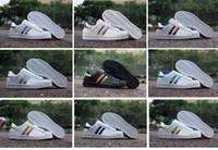 Wholesale 2016 Cool Fashion Originals Shoes Men s Shoes For Women s Shoes White Shoe Laser Dazzle Colour Superstar Shell Head Sneakers