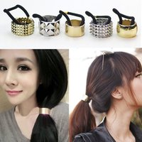 bands punks - The new Hot style Fashion punk rock and metal hair bands elastic rope hair bands for women Horsetail buckle Alloy electroplatin