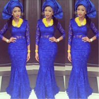 african lady pictures - Nigerian Ankara Mermaid Lady Formal Evening Dresses African Royal Blue With Lace Appliqued Long Sleeves Prom Gowns Vestido Longo De Festa