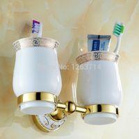 Wholesale Bathroom Toothbrush Holder Cup Shelf Rack Golden Finish Base Couple Ceramics Cups Wall Mounted HJ K