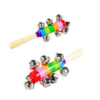 Wholesale Brand New and High Quality Rainbow Musical Instrument Toy Educational Wooden Hand Jingle Ring Bell Rattle Baby Kids Gift